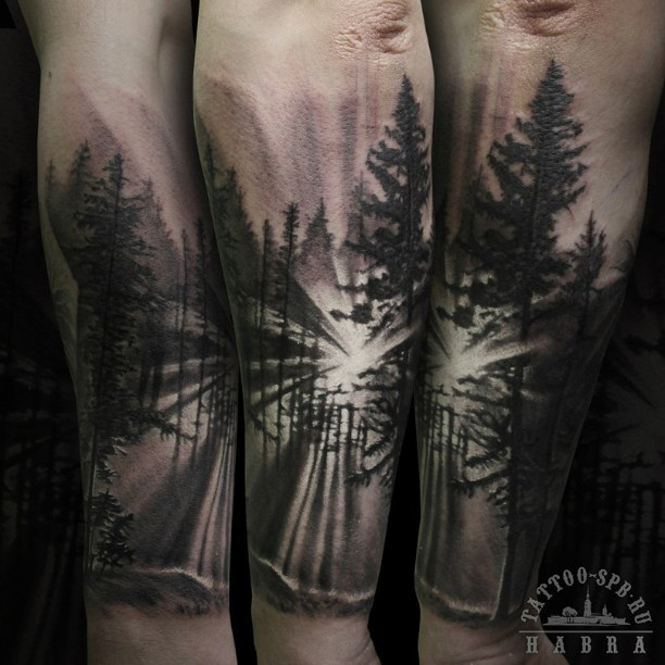 Simple Forest Tattoo Design Made By Nikola Ivanov
