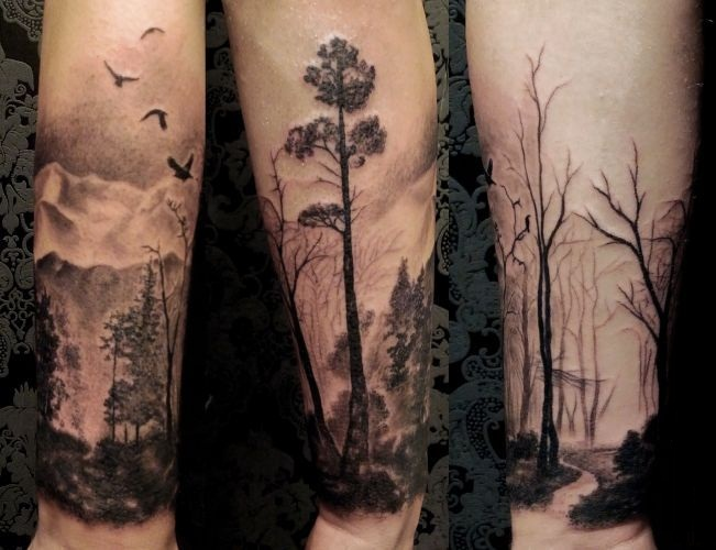 Simple Old Stuff Forest Tree Tattoo