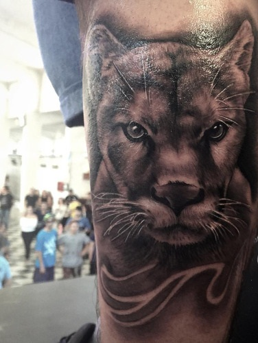 Tremendous 3D Black And Grey Puma Face Tattoo Design Idea