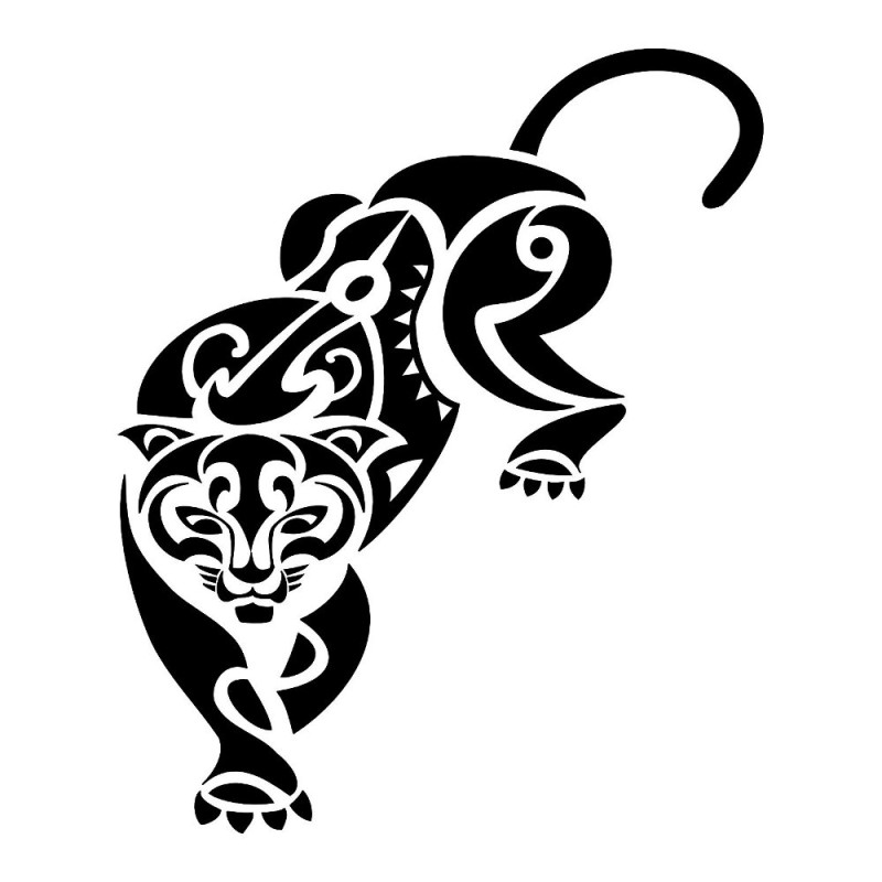 Tribal Black Ink Walking Puma Tattoo Stencil