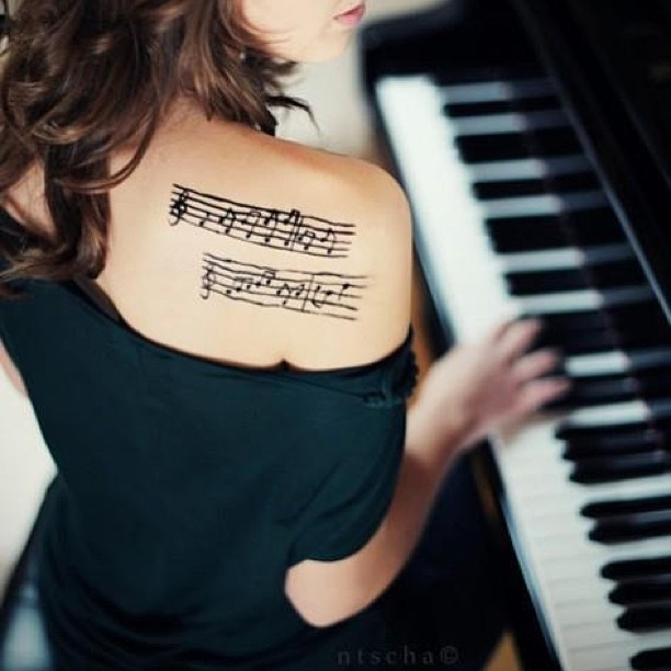 Upper Back Music Piano  Tattoo For Hot Lady