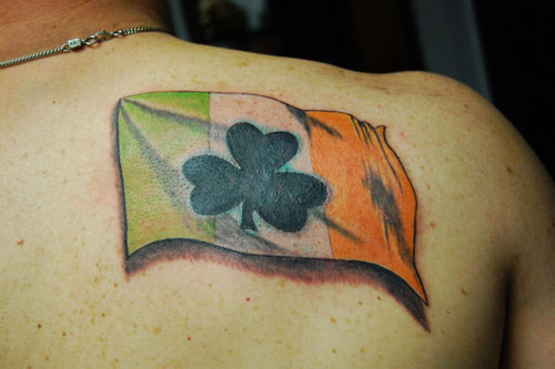 Upper Side Back Cool Black Clover With Irish Flag Tattoo