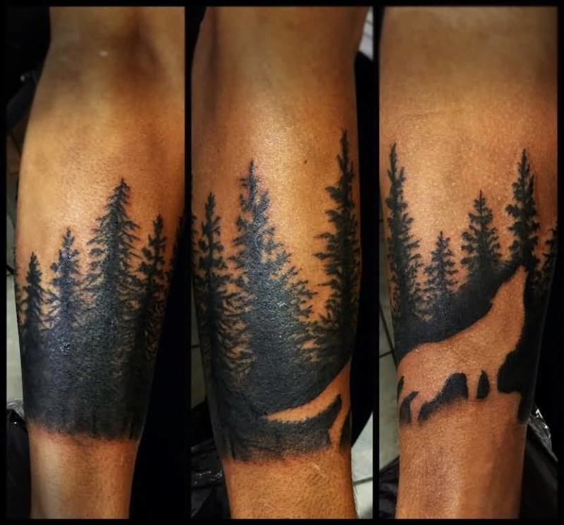 Wolf In Forest Dark Shaded Tree Tattoo