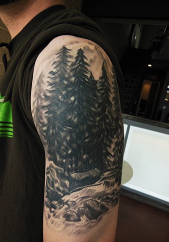 Wonderful Grey Ink Classy Forest Mountian And Tree Tattoo