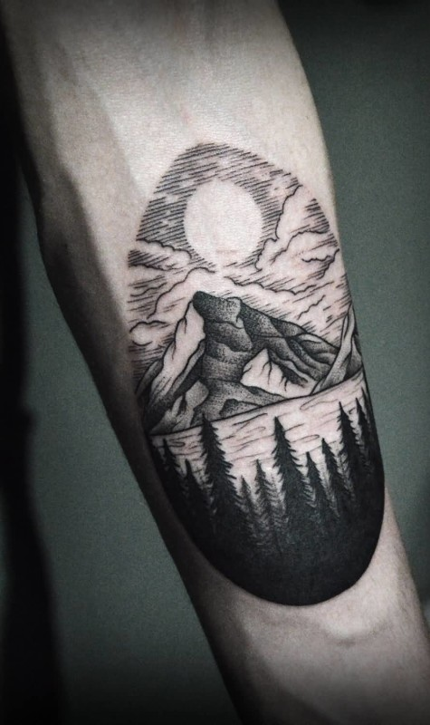 Wonderful Mountain Forest View Dotwork Tattoo