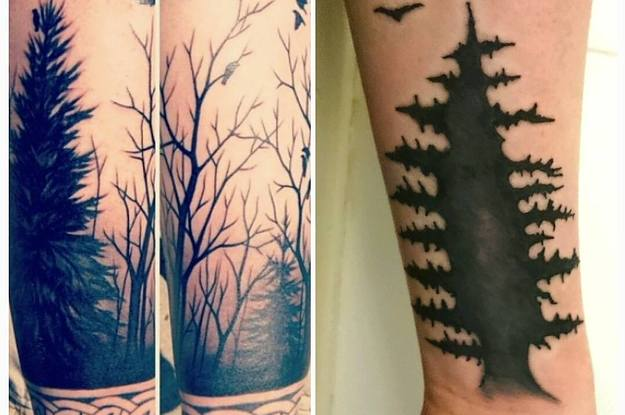 Wonderful Simple Forest Tattoo Design