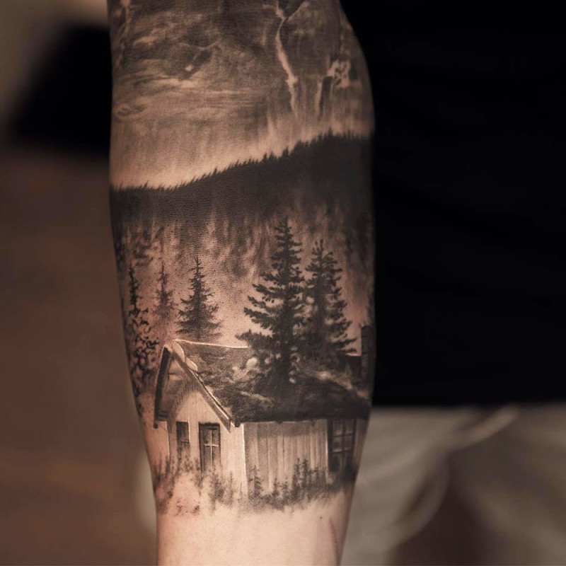 Wooden Forest House Tattoo On Sleeve
