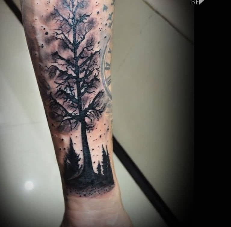 Zorka Calore Design A Forearm Forest Black Tree Tattoo