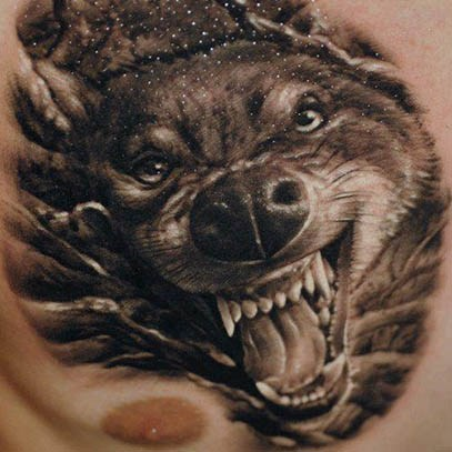 3D Men Chest Realistic Wolf Head Tattoo Design