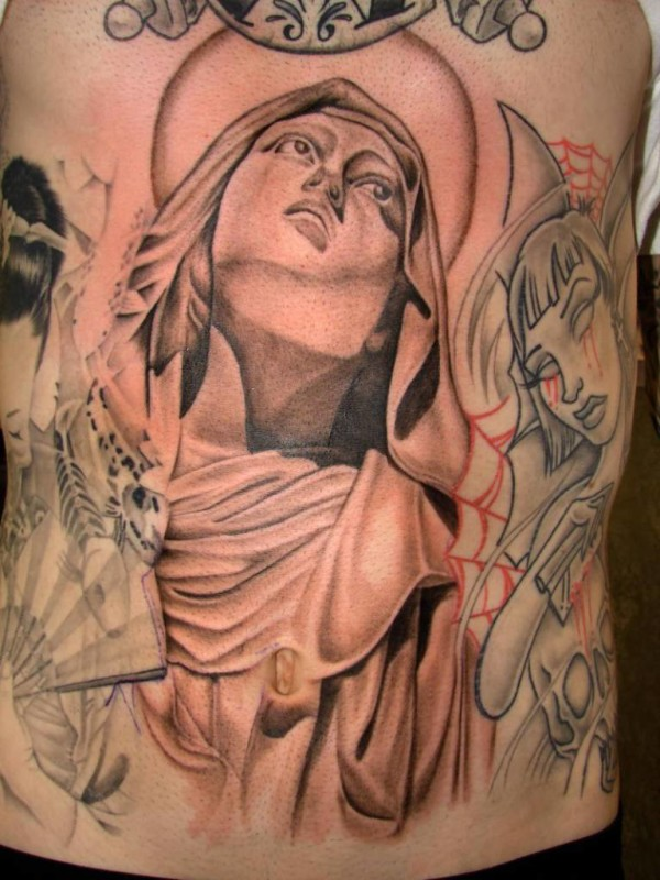Andrew Sussman Designed A Perfect Sanint Mary Mother Of God Face Tattoo Make On Stomach