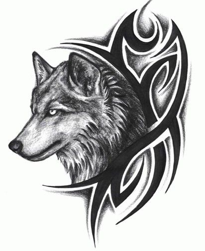 Angry Eye Wolf Head With Nice Tribal Tattoo Stencil