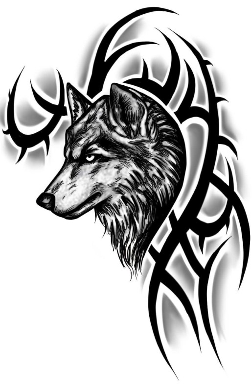 Angry Wolf Face With Black Tribal Tattoo Stencil