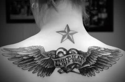 Army Star With Angel Wings And Mom Heart Tattoo For Girl