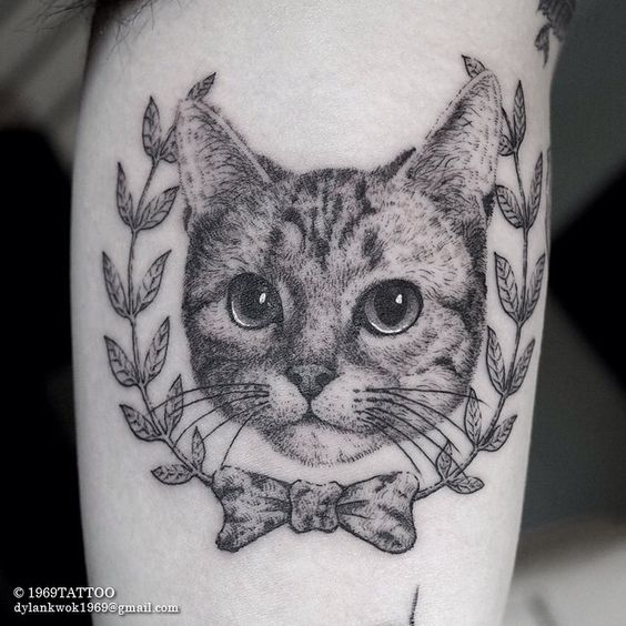 Attractive Cool Dotwork Cat Face Tattoo