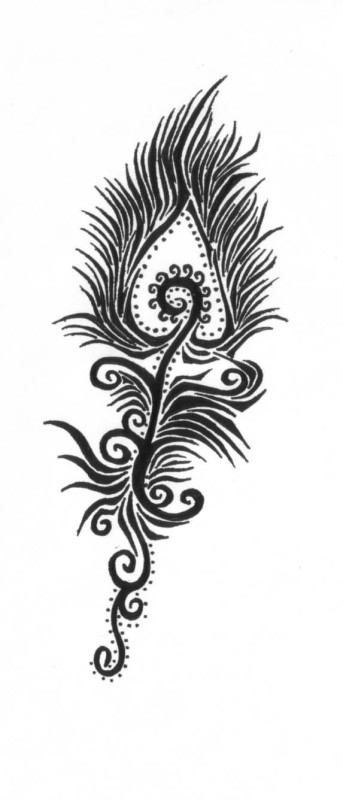Awesome Black Ink Nice Peacock Feather Tattoo Stencil Design