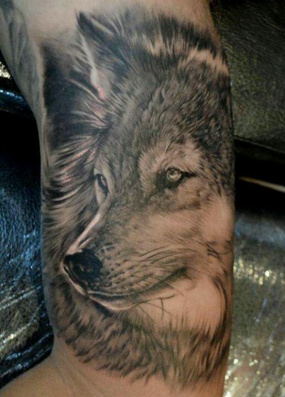 Awesome Cool Wolf Face Dotwork Tattoo Design For Muscles