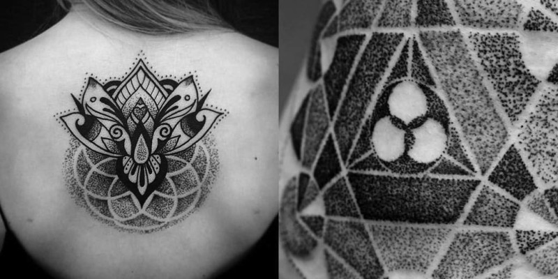 Awesome Girl Back Coolest Dotwork Flower Tattoo