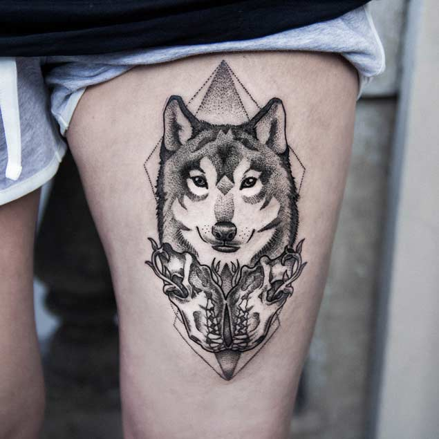 Awesome Nice Looking Famous Dotwork Husky Dog Tattoo On Thigh