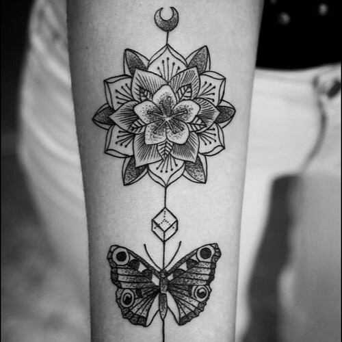 Beautiful Butterfly With Grey Ink Cool Mandala Tattoo