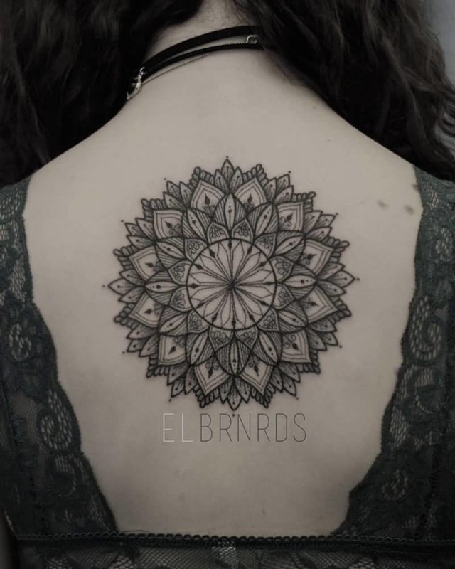 Beautiful One More Upper Back Mandala Tattoo Of Flower