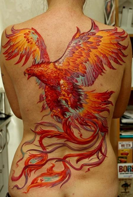 Big Angry Fighting Roaring Mood Phoenix Tattoo Design For Back