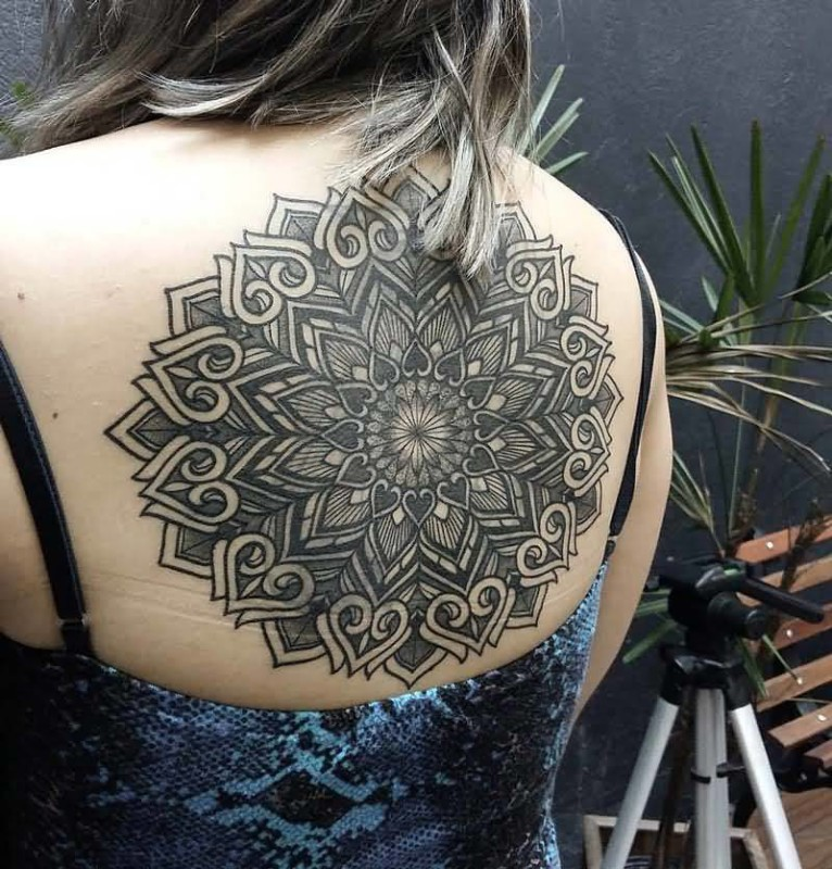 Big Upper Back Mandala Flower Tattoo