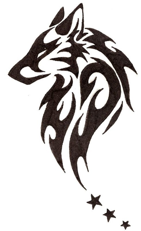 Black 3 Stars With Nice Tribal Wolf Face Tattoo Design Stencil