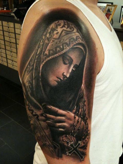 Black And Grey Ink Saint Mary Lord Mother And Classy Black Cross Tattoo On Shoulder Design By Jrunin