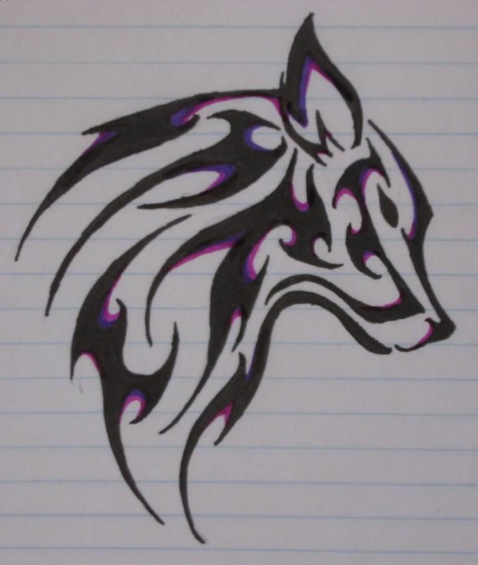 Black And Pink Classy Tribal Wolf Face Tattoo Design Stencil On Sheet