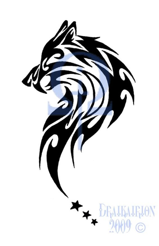 Black Cool Inked Tribal Style Wolf Head Tattoo