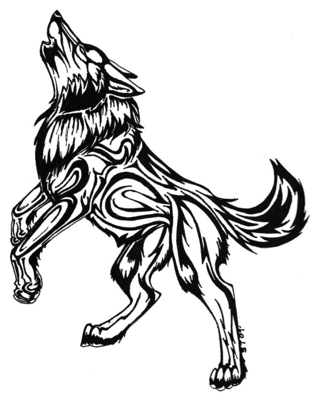 Black Ink Nice Howling Tribal Wolf Tattoo