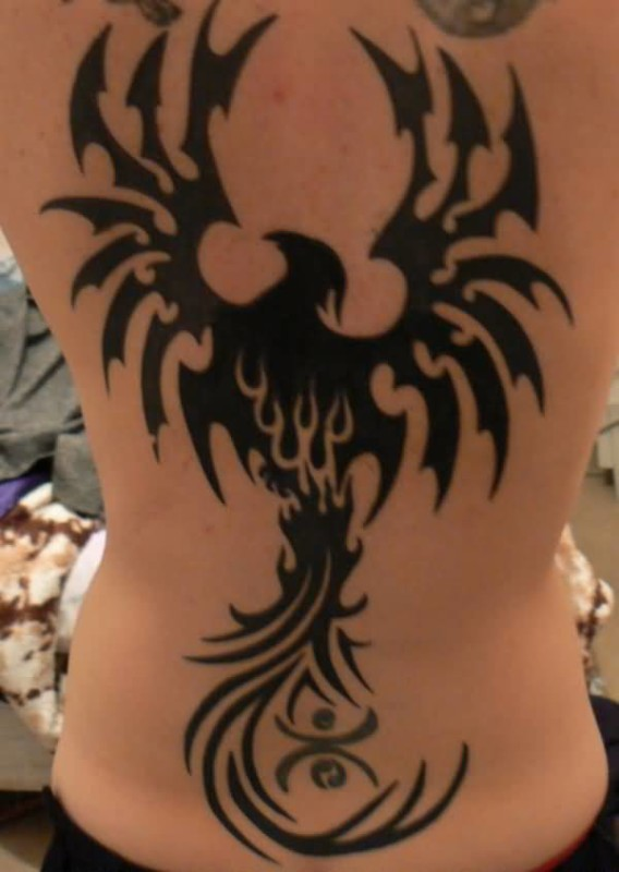 Black Ink Tribal Wings Black Phoenix Tattoo On Back