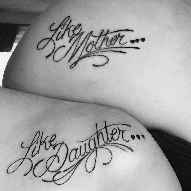 Black Tiny Heart With Like Mother And Like Daughter Text Tattoo