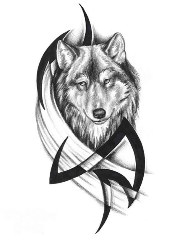 Black Tribal With Nice Simple Grey Ink Wolf Face Tattoo