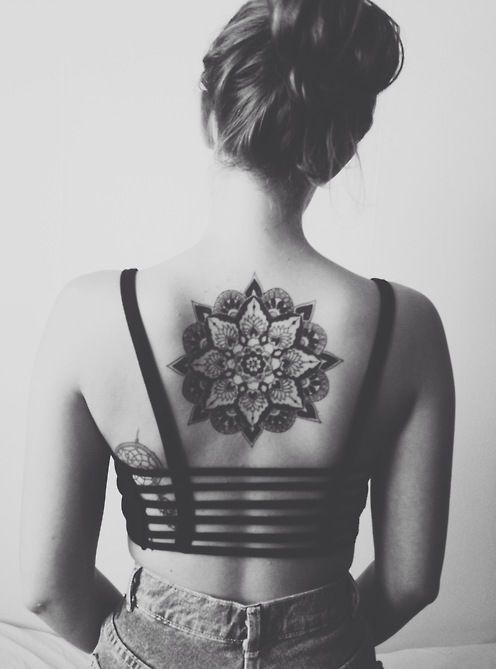 fac4606eb Black and White Ink Upper Back Simple Mandala Flower Tattoo For Girl