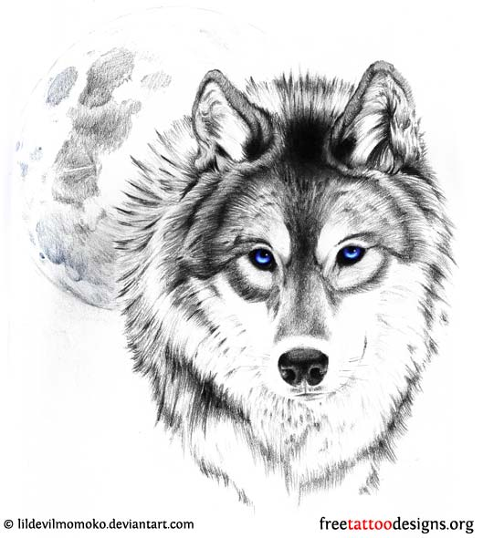 Blue Awesome Eyes Wolf Face Grey Ink Tattoo