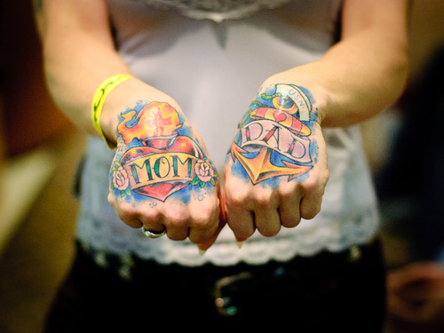Both Hand Burning Heart Mom Banner And Anchor Dad Banner Tattoo For Lady
