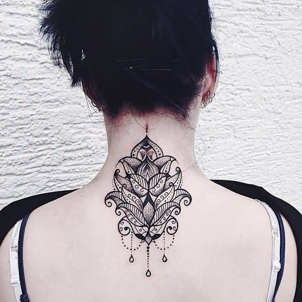 Brilliant Neck Back Mandala Tattoo For Girl