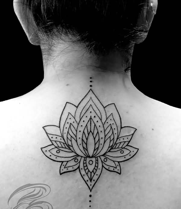 Brilliant Upper Back Lotus Flower Mandala Tattoo
