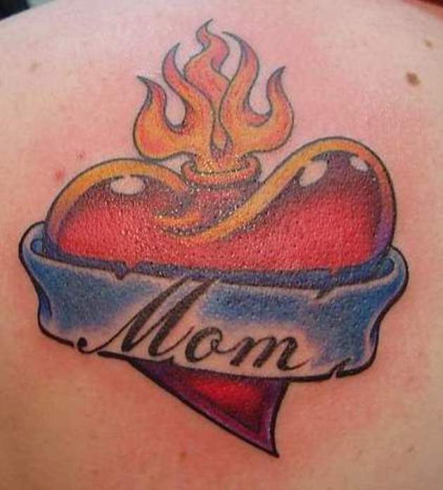 Burning Heart With Mom Banner Tattoo On Back