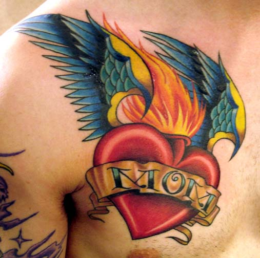 Burning Red Heart With Big Wings And Mom Baner Tattoo On Chest Idea For Men