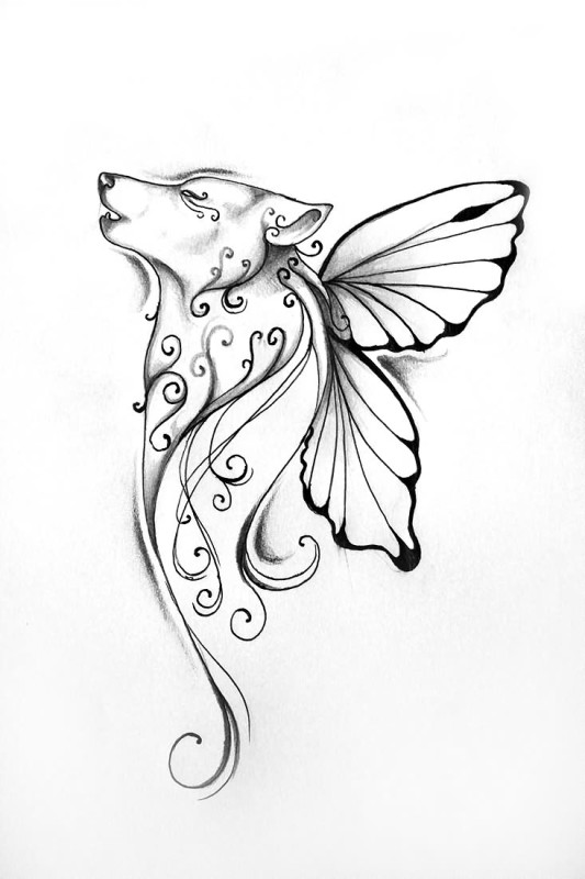 Butterfly Wings Nice Wolf Face Tattoo Design Idea For Paper