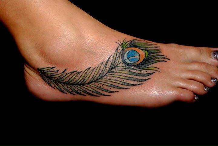 Cool Peacock Feather Cover Up Right Foot Tattoo