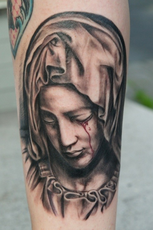 Crying Sad Siant Mary Mother Face Of God Tattoo