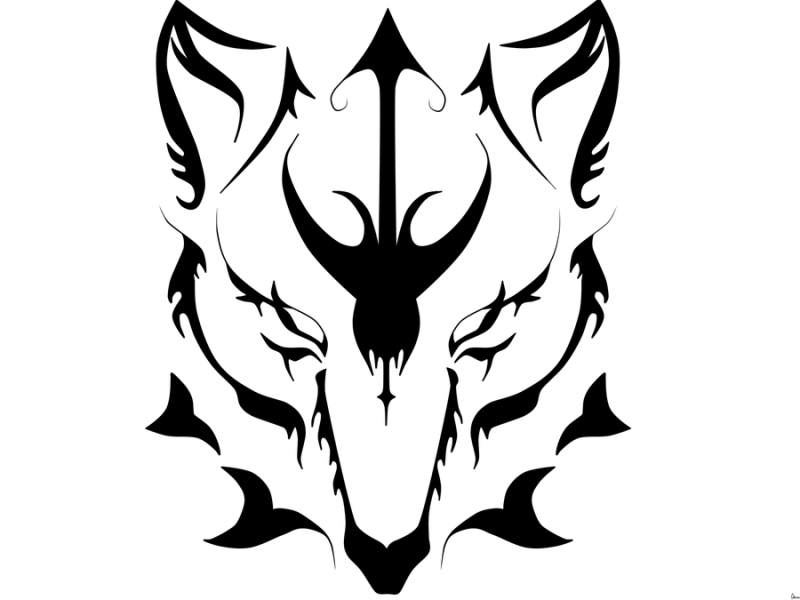 Dangerous Awesome Wolf Face Stencil Tattoo Design