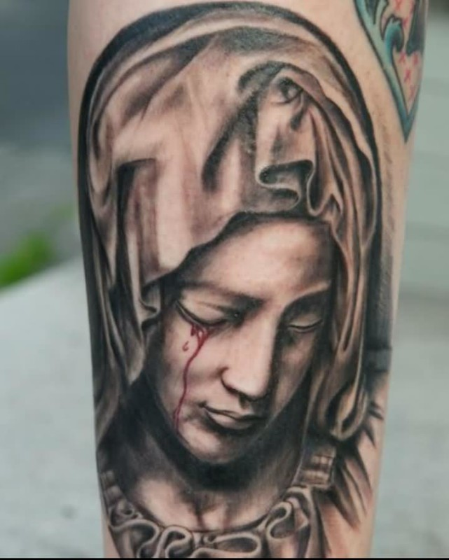 Dotted Black Ink Sad Crying Blood From Eyes Lord Saint Mary Mother Face Tattoo