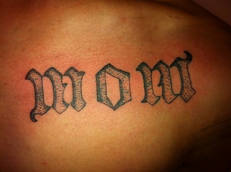 Dotwork Ambigram Mom Tattoo Design For Men