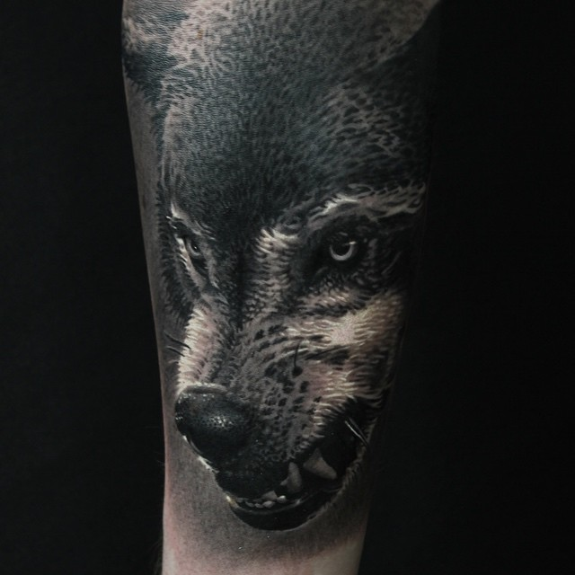 Dotwork Awesome Wolf Face Tattoo Design By Ryan Evans
