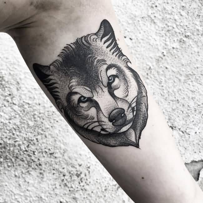 Dotwork One More Wolf Cool Face Tattoo