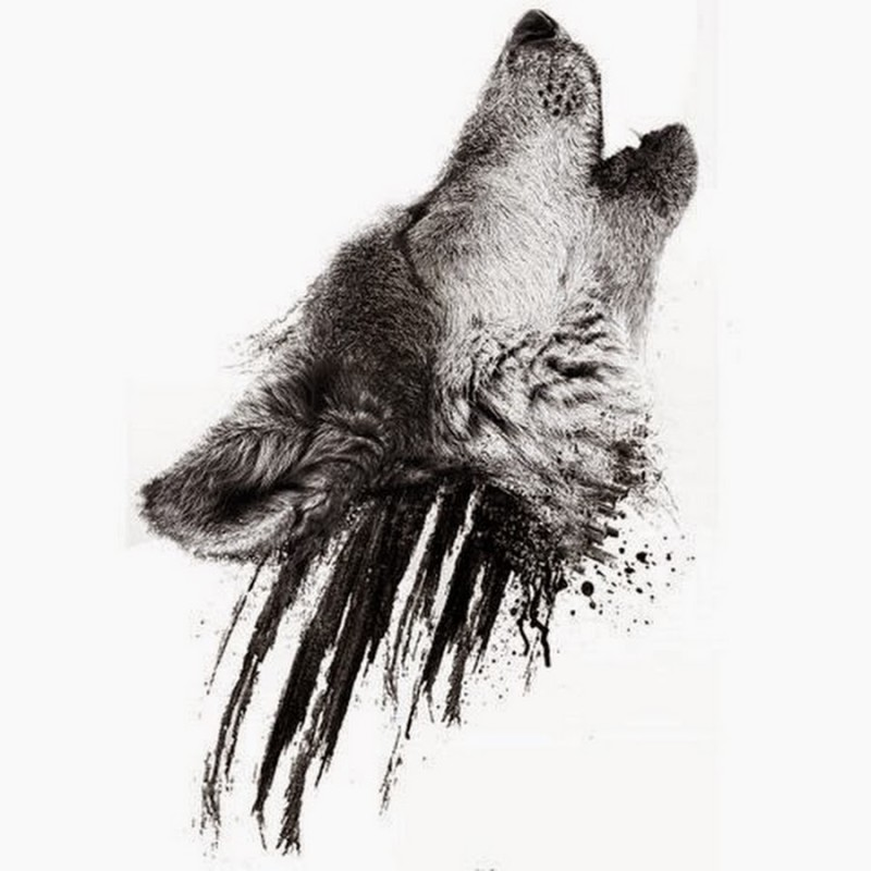 Dotwork Simple Wolf Head Tattoo Design Stencil
